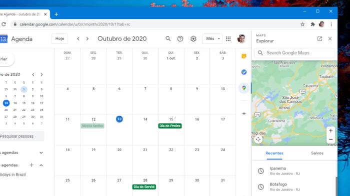 Google Agenda com Google Maps (Imagem: Felipe Ventura/Tecnoblog)