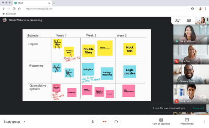Quadros interativos no Google Meet. Imagem: Divulgação/Google