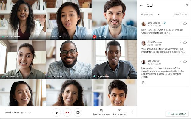 Perguntas e respostas no Google Meet