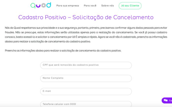 Formulário para sair do Cadastro Positivo no Quod (Imagem: Reprodução/Quod)