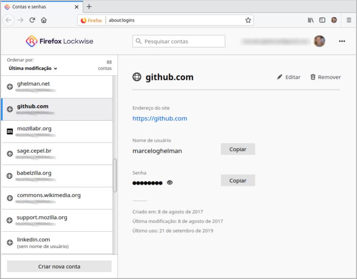 Acesso as senhas no Firefox - Imagem: Divulgação/Firefox
