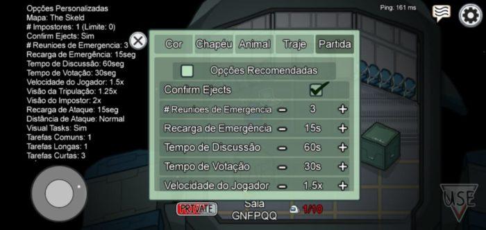 Configurações de jogo do Among Us / Imagem: Reprodução: Alvaro Teixeira