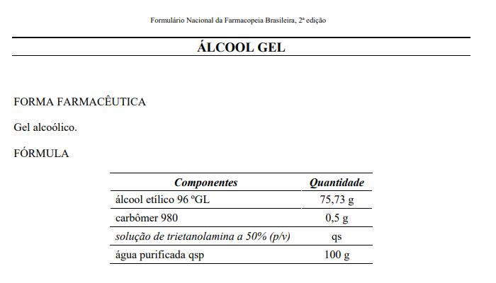 Fórmula do álcool em gel (Imagem: Reprodução/Farmacopeia Brasileira, 2ª ed. do formulário nacional)