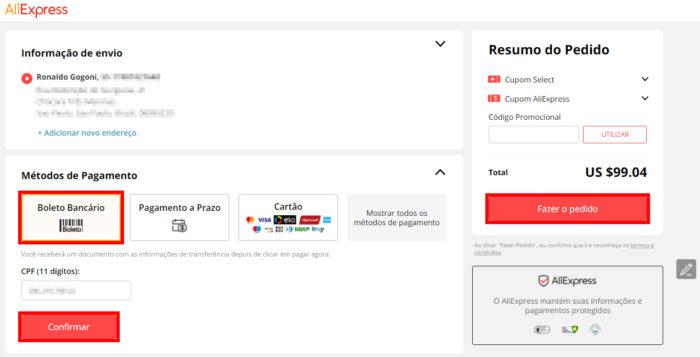 Opções de pagamento do AliExpress (Imagem: AliExpress/Reprodução)
