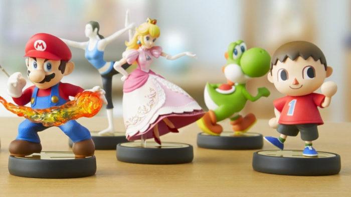 Amiibos de Mario, Wii Fit Girl, Peach, Yoshi e Villager (Imagem: Nintendo/Divulgação)