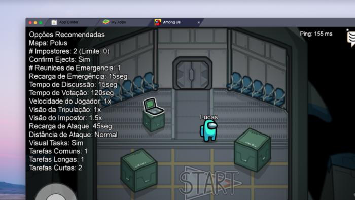 Among Us no PC via emulador (Imagem: Reprodução/BlueStacks)