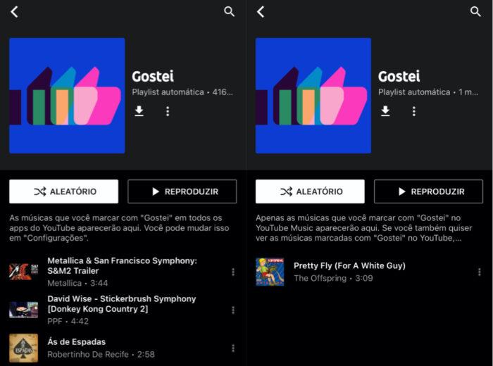 Antes (esquerda) e depois (direita) do ajuste no YouTube Music (Imagem: reprodução/YouTube Music)
