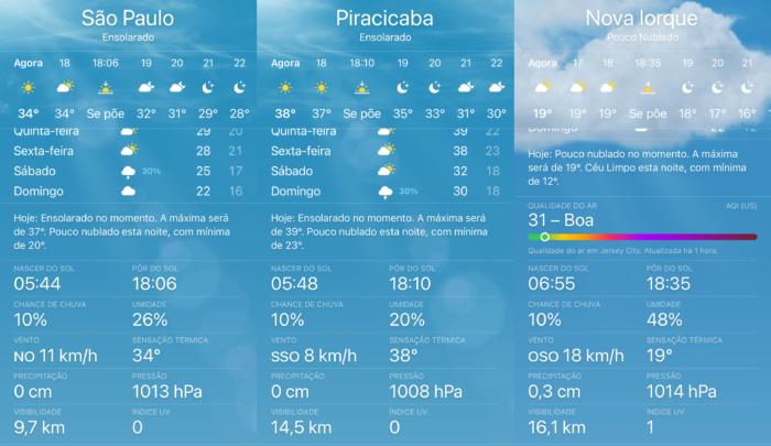App do iOS mostra o valor da sensação térmica