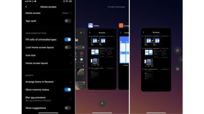Apps recentes na MIUI Launcher