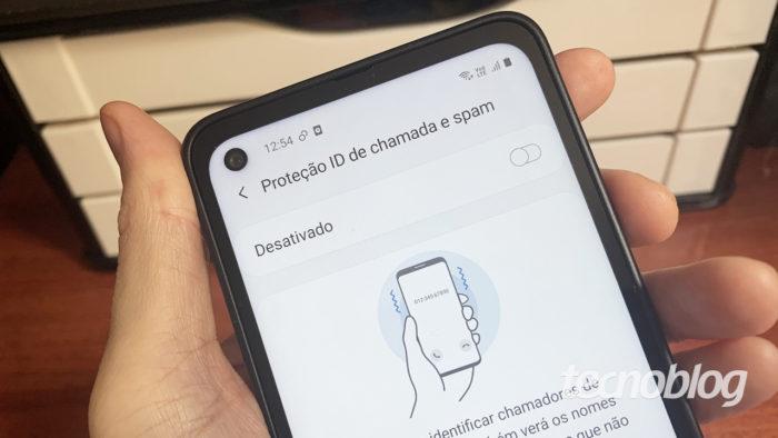 Detecção de chamada de spam em celular Galaxy (imagem: Emerson Alecrim/Tecnoblog)