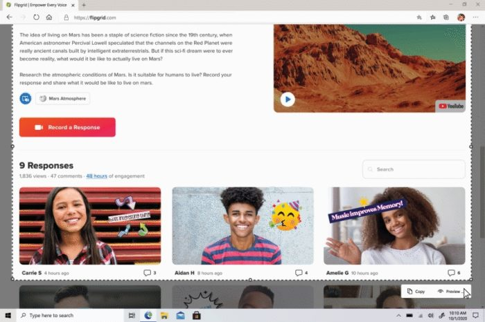 Captura de tela no Edge (imagem original: Microsoft)