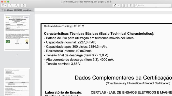 Certificado mostra capacidade da bateria do iPhone 12 Mini (Imagem: Reprodução/Anatel)