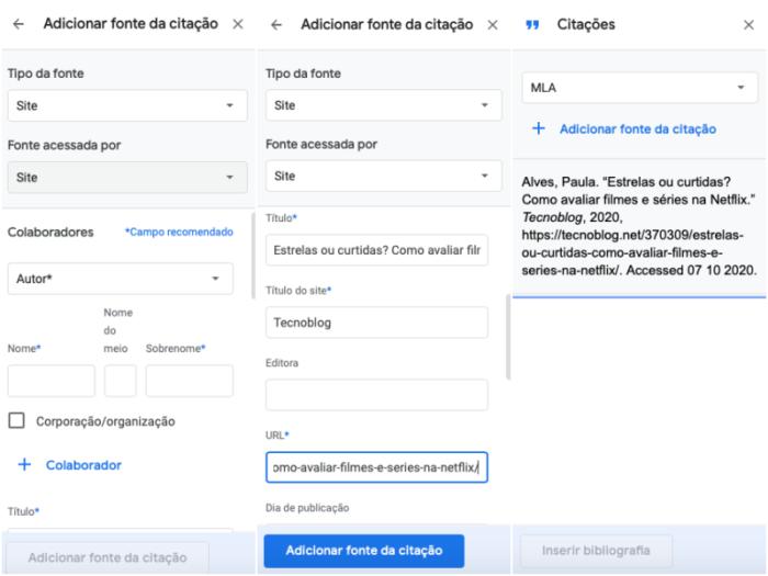 Google Docs citações/reprodução/bárbara chieregate