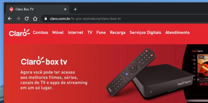 Site do Claro Box TV