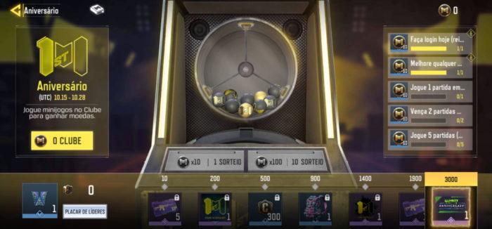 Tela de evento em CoD Mobile (Imagem: TiMi Studios/Activision/Garena/Reprodução)