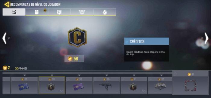 Recompensas do nível de jogador em CoD Mobile (Imagem: TiMi Studios/Activision/Garena/Reprodução)