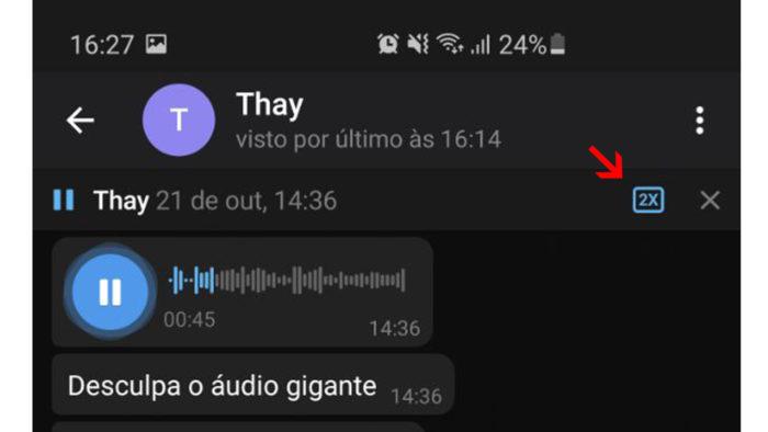 Como acelerar reprodução de áudio no Telegram. (Imagem: Reprodução/Telegram)