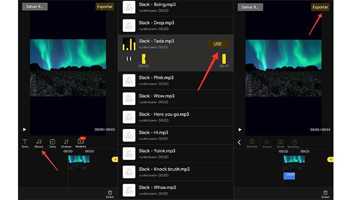 No Beecut você pode adiconar música em sua colagem (Imagem: Reprodução \ Beecut)