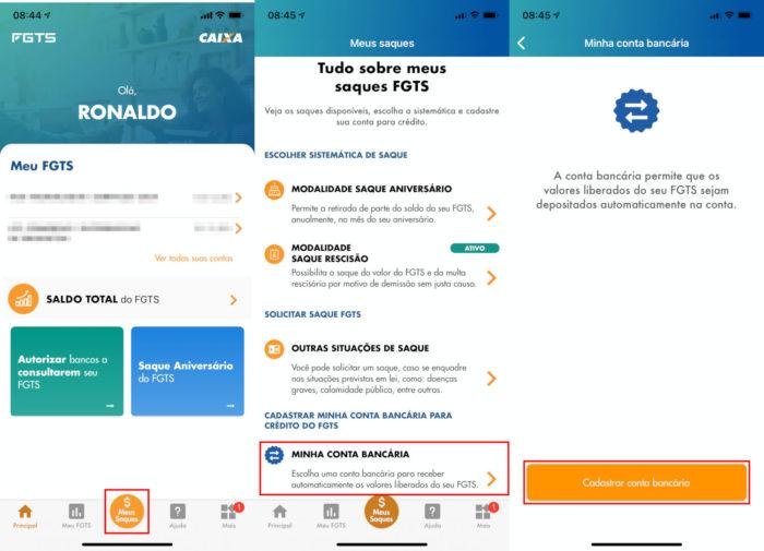 CAIXA / telas do app do FGTS (iPhone)