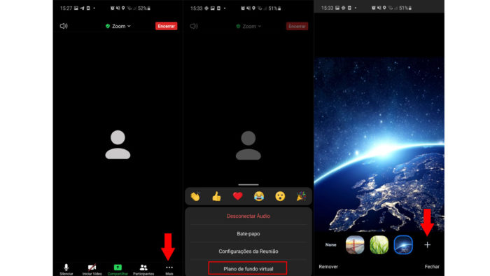 Alterando plano de fundo virtual no aplicativo Zoom. (Imagem: Reprodução/Zoom)