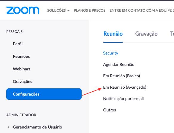 Configurações no Zoom Web