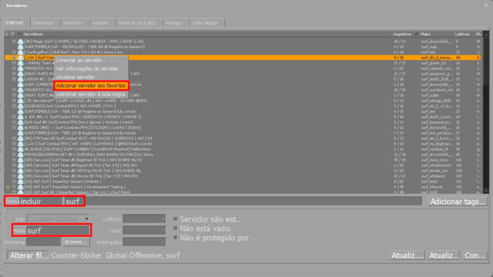 Busca de servidores em CS:GO (Imagem: Valve/Reprodução) / como surfar em cs:go