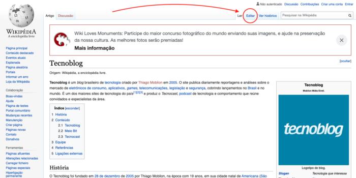 Botão para editar página da Wikipédia (Imagem: Reprodução/Wikipédia)