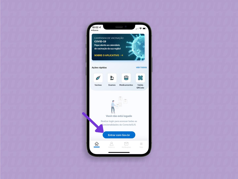 tela do aplicativo Conecte SUS com o botão de login em destaque