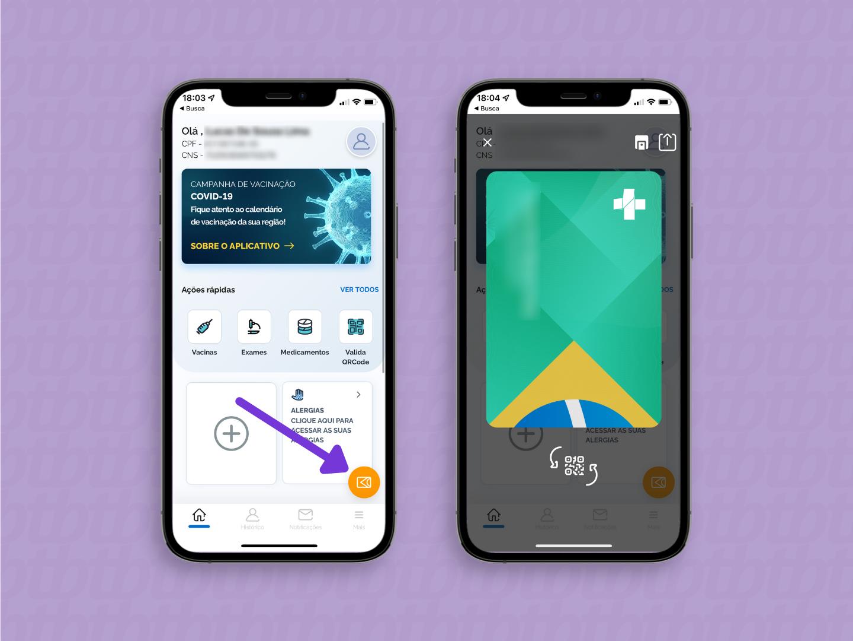 aplicativo do conecte SUS com destaque para o botão do cartão virtual, no canto inferior direito da tela