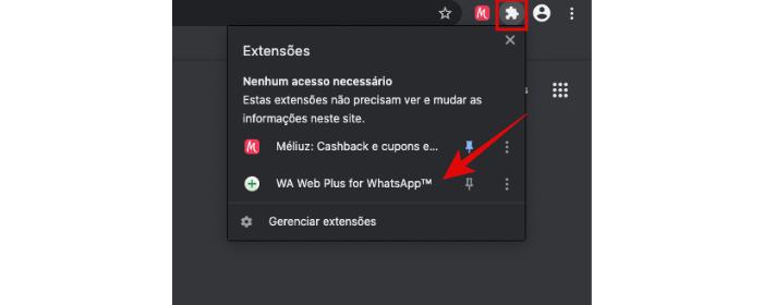 WA Web Plus no Chrome (Imagem: Reprodução/Chrome)