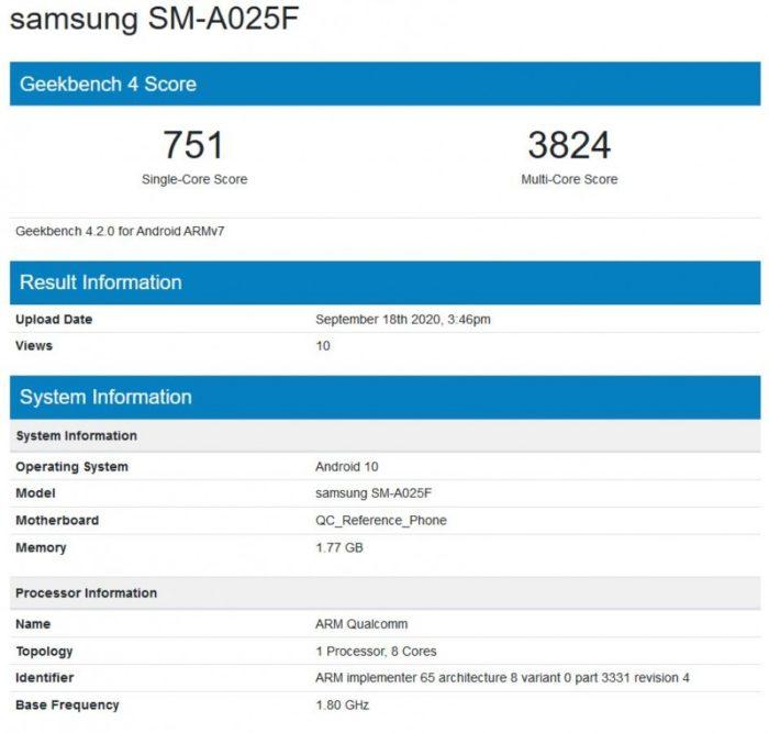 Possível Galaxy A02 passa por teste de benchmark (Imagem: Reprodução/MySmartPrice)