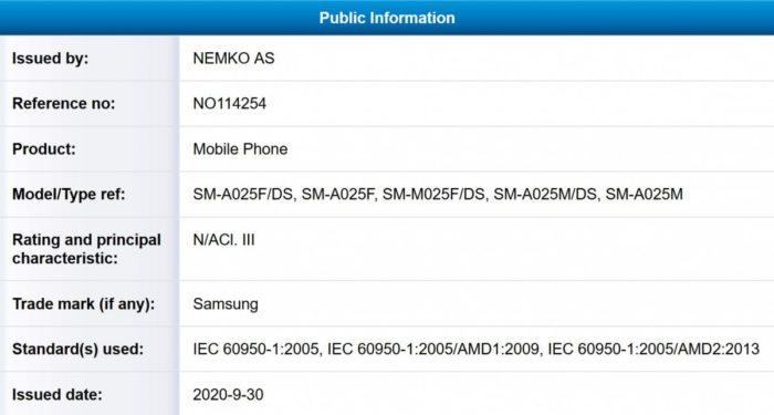 Certificado da NEMKO AS para Galaxy M02 e A02 (Imagem: Reprodução/MySmartPrice)