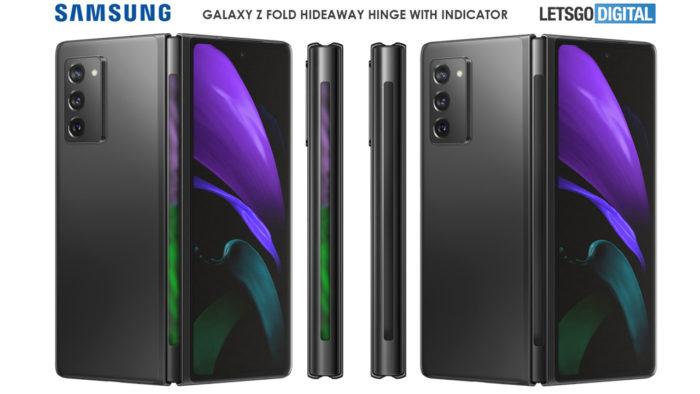 Esquema revela possível tela na dobradiça do Galaxy Z Fold 3. (Imagem: Reprodução/LetsGoDigital)