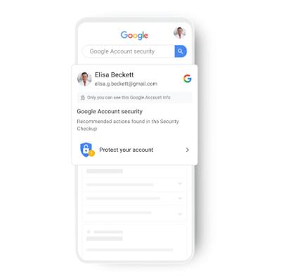 Card do Google mostra informações de segurança da conta