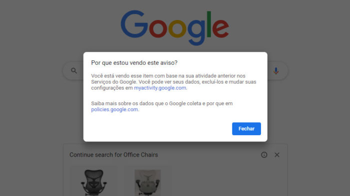 Chrome explica como anúncios são exibidos (Imagem: Reprodução/Tecnoblog)