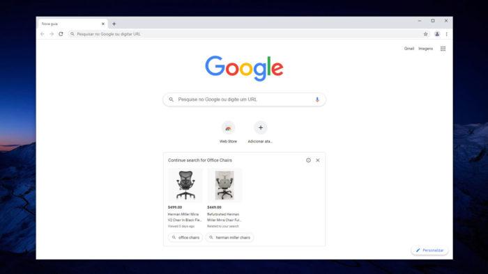 Anúncios do Google Shopping no Chrome Canary (Imagem: Reprodução/Tecnoblog)