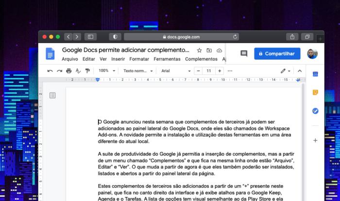 Complementos são instalados diretamente no painel lateral (Imagem: reprodução/Google Docs)