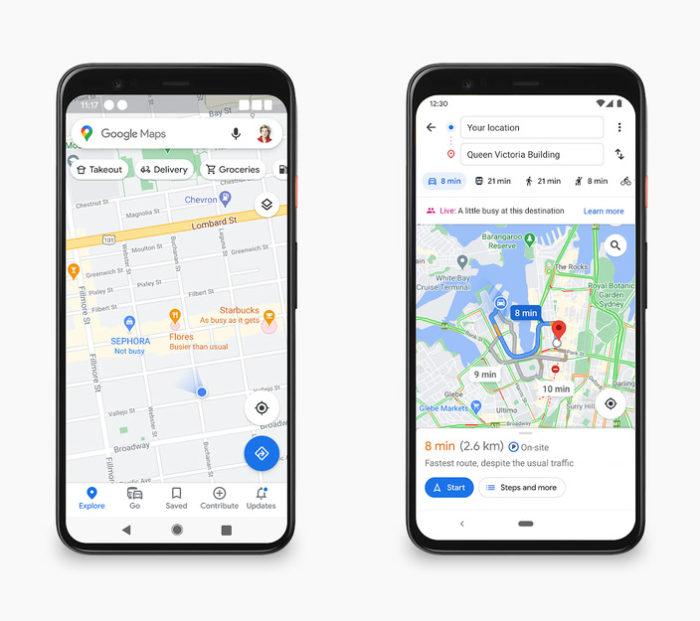 Maps indicará lotação junto aos ponteiros dos locais no mapa (Imagem: Divulgação/Google)