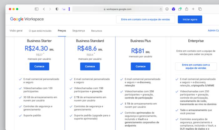 Planos do Google Workspace (Imagem: Reprodução/Tecnoblog)