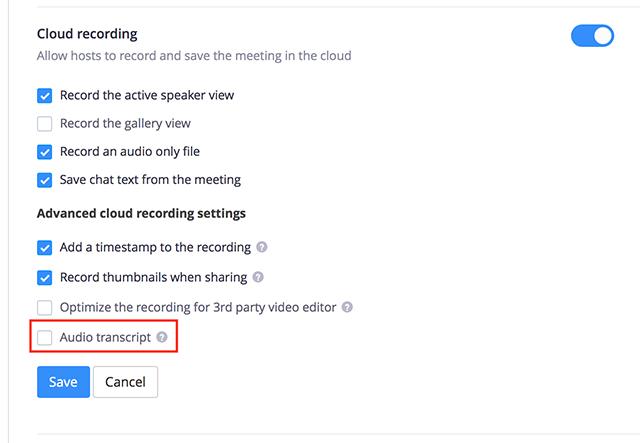 transcrição de áudio no Zoom/reprodução/Zoom Meetings