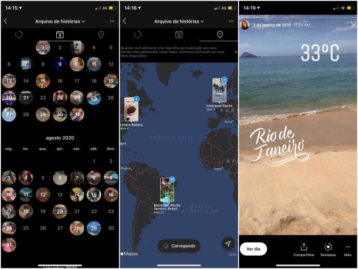 Mapa e Calendário nos arquivos dos stories (Imagem: Reprodução/Instagram)