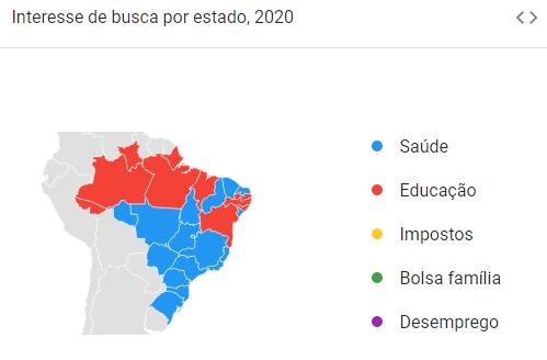Mapa mostra interesses no debate político. (Imagem: Reprodução/Google)