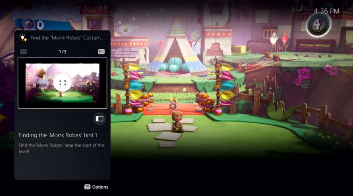 Guia presente na interface do PS5 (Imagem: Sony)