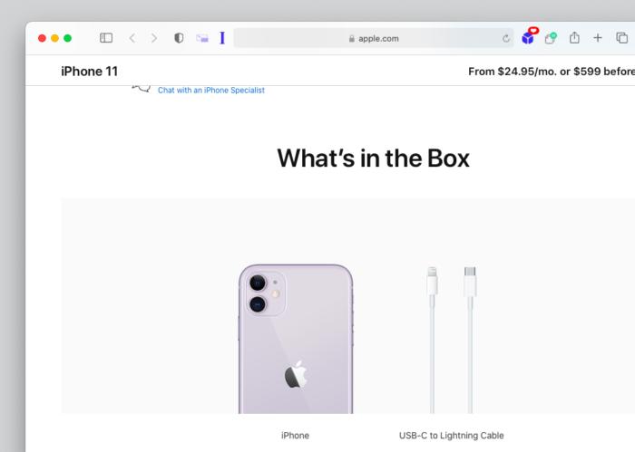 iPhone 11 não terá mais fone e carregador na caixa (Imagem: Reprodução/Apple)