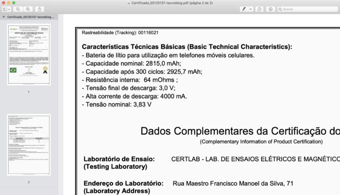 Certificado mostra capacidade da bateria do iPhone 12 (Imagem: Reprodução/Anatel)