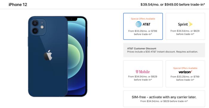 iPhone 12 sem vínculo com operadoras é US$ 30 mais caro (Imagem: Reprodução/Apple)