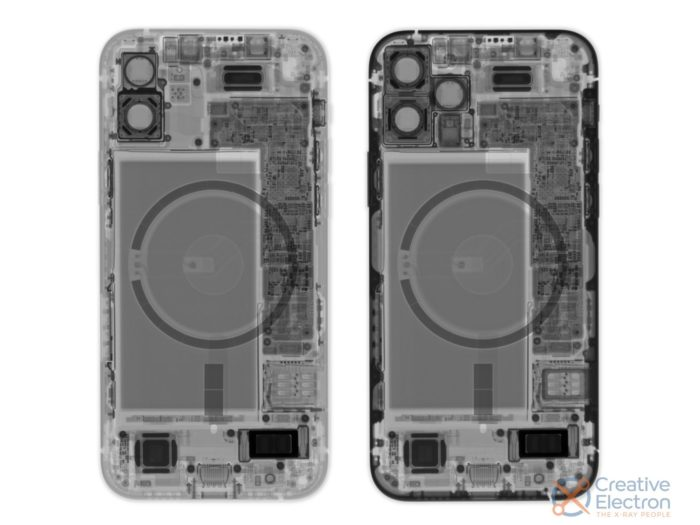 X-ray iPhone 12 and iPhone 12 Pro (photo: iFixit)