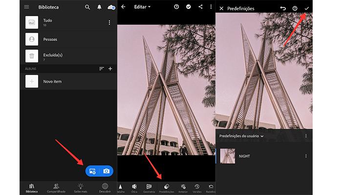 O Lightroom para celular também permite exportar presets (Imagem: Reprodução/Lightroom)