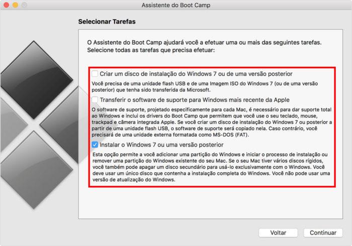 Ferramenta de Boot Camp no macOS High Sierra (Imagem: Apple/Reprodução) / como instalar windows 7 no mac