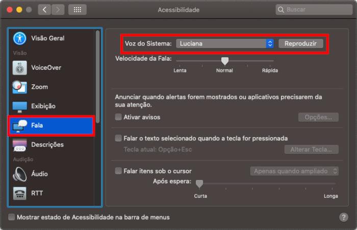 Configurações de fala do macOS (Imagem: Apple/Reprodução)
